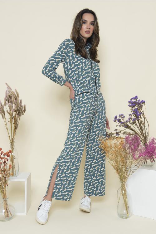 Calça Max Feminina Estampada Em Jersey Wide Leg