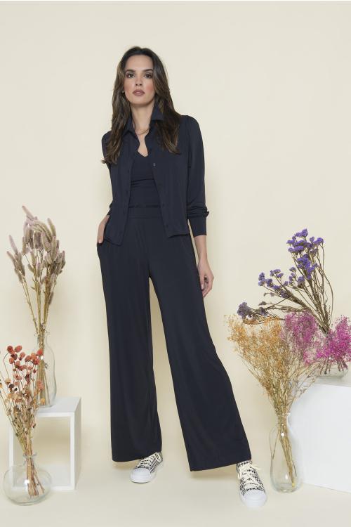 Calça Classic Feminina Wide Leg Em Jersey