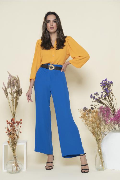 Calça Crepe Feminina Em Crepe Com Cós Com Elástico E Pernas Amplas