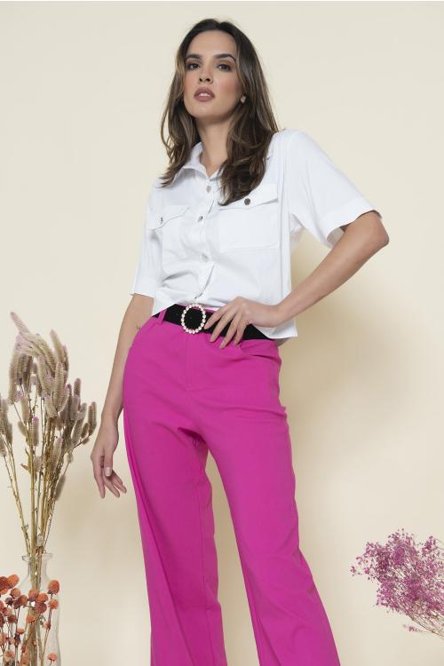 Camisa Tina Feminina Cropped De Mangas Curtas Com Gola