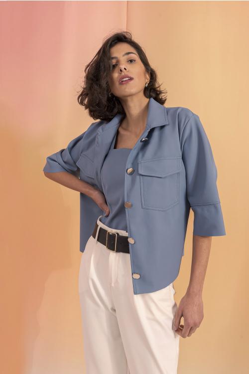 Camisa Matisse Feminina Oversized Com Mangas 3/4 Em Ultrablock