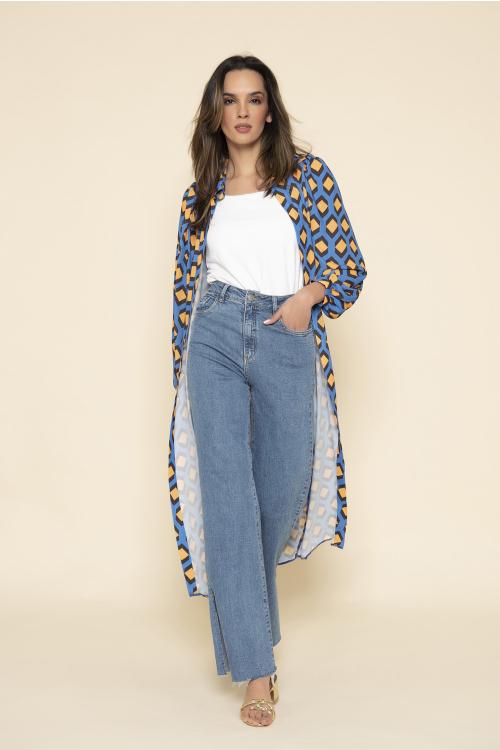 Wide Leg Jeans Dani Feminina Com Cintura Alta