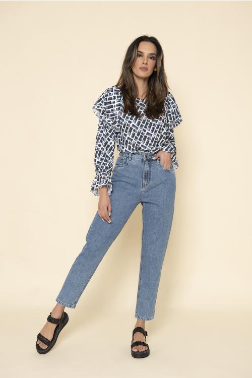 Calça Jeans Mom Feminina Com Cintura Alta