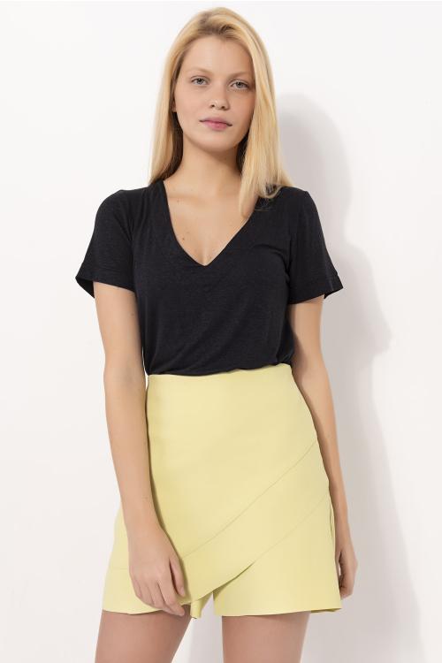 Blusa Luna Feminina Com Decote V Estilo T-Shirt