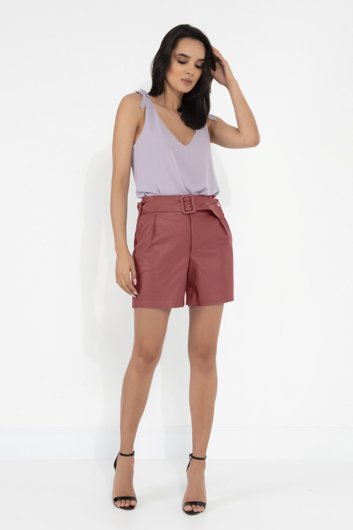 Shorts Eloa Feminino Em Couro Sintético Com Cinto