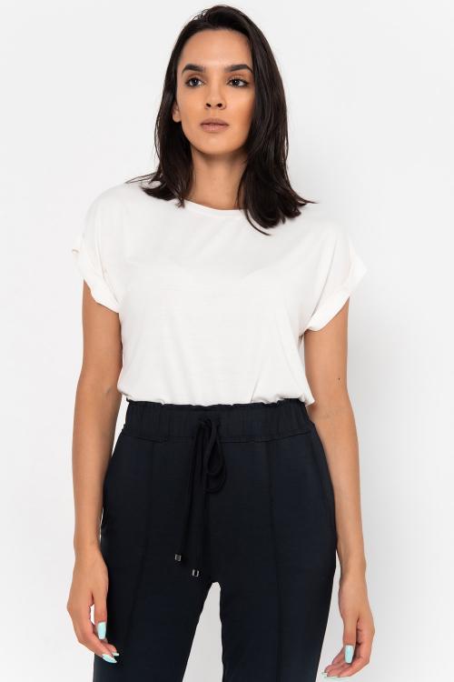 Blusa Vicky Estilo T-Shirt De Mangas Curtas Sem Cavas Com Barra Italiana