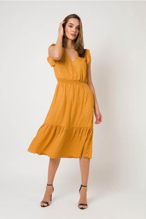 Vestido Sunny Midi Em Crepe Com Decote V