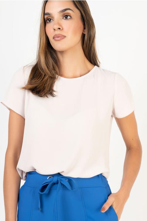 T-Shirt Luna Em Crepe Com Decote Redondo