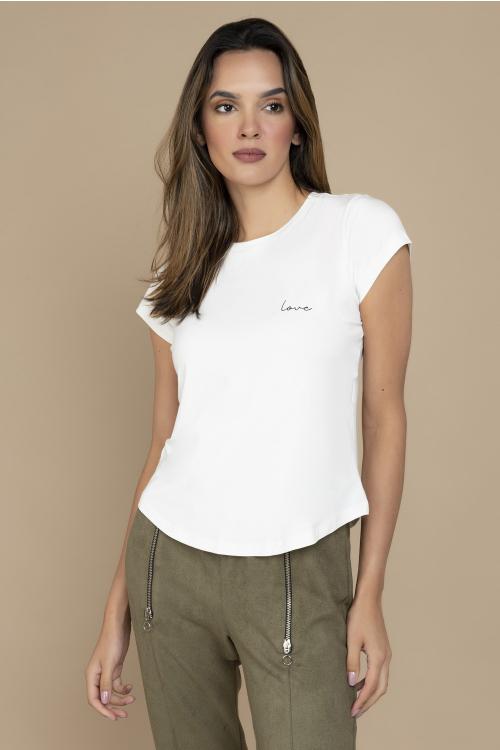T-Shirt Love Com Decote Redondo E Estampa