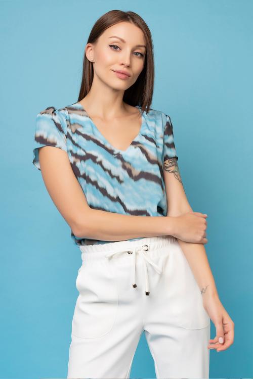 Blusa Bianca De Manga Curta Em Crepe Estampado E Decote V