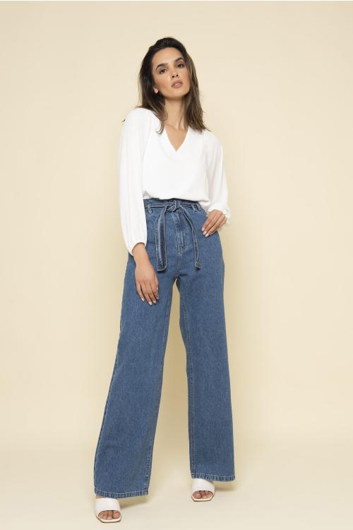 Wide Leg Jeans Nina Com Cinto E Cós A Fio