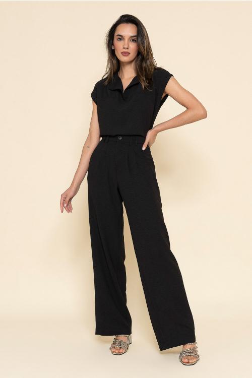 Calça Marina Feminina Wide Leg Pantalona Com Cintura Alta