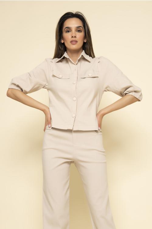 Camisa Isa Feminina Em Sarja Com Elástico E Pespontos