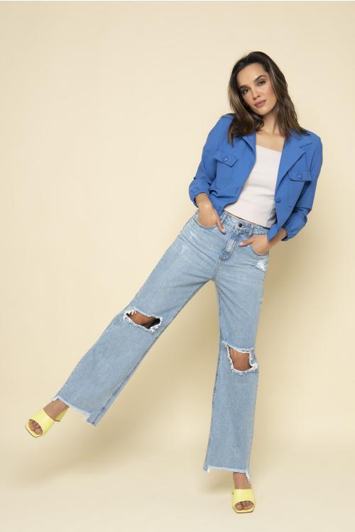Wide Leg Jeans Scarlet Feminina Destroyed